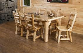Dining Room Furniture Usa Rustic White Cedar Log Dining Table 6 Chairs Set