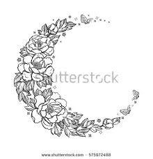 beautiful crescent moon peony stock vector 575972488