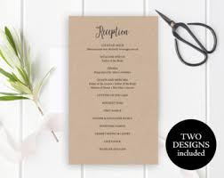 wedding reception itinerary reception program etsy