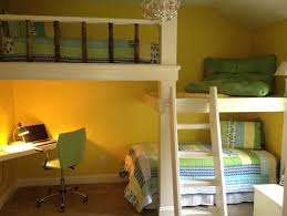 childs room 2 loft bed with sitting area and desk area