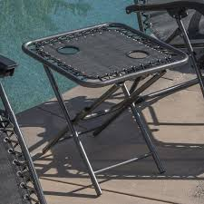 Table Cup Holder Zero Gravity Chairs Of 2 Black Lounge Outdoor With Folding Table