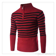 mens sweater autumn winter fashion stripe high collar zipper set
