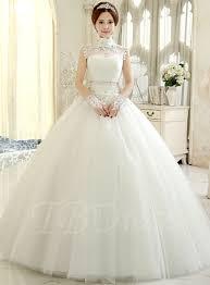 wedding dress high neck high neck gown tulle wedding dress tbdress