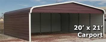 Steel Car Port 20 U0027 X 21 U0027 Metal Carport Cover With 3 Sides Installation Included