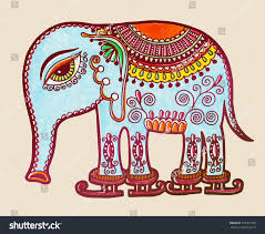tribal elephant skating ornamental marker stock vector