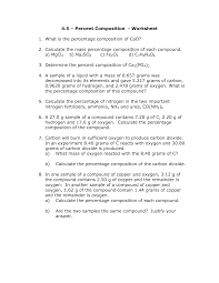percentage composition worksheet key 100 images empirical and