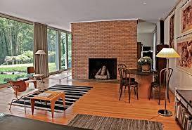 modern living room with brick fireplace decorating clear