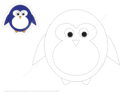 trace and color cartoon penguin free printable puzzle games