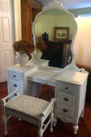 Antique Vanity With Mirror And Bench - sold vintage 1930