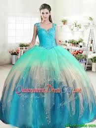 quinceanera dresses with straps popular see through back straps beaded quinceanera dress in ombre