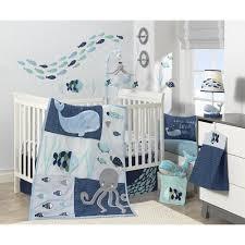 Crib Beddings Sets Lambs Oceania Aqua Blue Aquatic 4 Crib Bedding Set