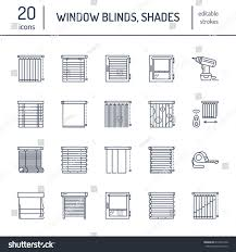 window blinds shades line icons various stock vector 619404140
