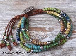 beaded bracelet leather images Beaded leather wrap multi color seed bead by azjewelrybyelizabeth jpg