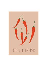 Chili Pepper Home Decor Chilli Pepper Print Botanical Illustration Botanical Print