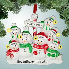 Personalized Ornaments For Large Families Family Ornaments Pole Snowman Family 7 Personalized Free