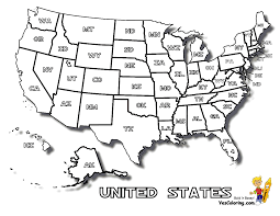 coloring page of united states map with states names at