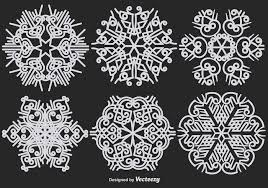 abstract ornamental white snowflakes vector set free