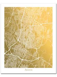 City Of Austin Map by Gold Foil Austin Map Print Gold Foil Map Of Austin Texas