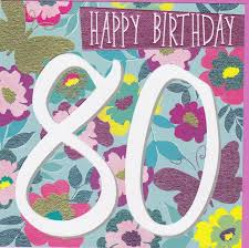 female 80th butterfly and flowers birthday card karenza paperie