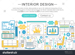 interior design decoration vector modern line flat interior design stock vector 534064363