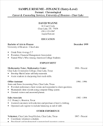 Sample Finance Resume Entry Level Finance Resume Examples 28 Word Pdf Documents Download Free