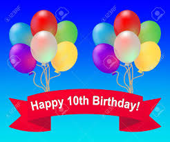 happy tenth birthday balloons meaning 10th celebration