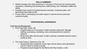 resume fast food resume examples stunning restaurant resume