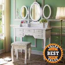Bedroom Dressers With Mirror Vanity Set Black Makeup Table Mirror Girls Stool Drawers Bedroom