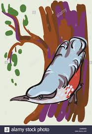 vector sketch of bird on a tree branch stock vector art