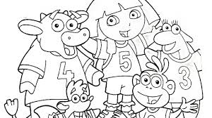 dora the explorer playing soccer coloring book pages videos for