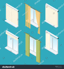 Windows Curtains Isometric Windows Curtains Drapery Shades Blinds Stock Vector