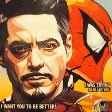 Tony Stark Tony Stark And Spider Man Inspired Plaque Mounted Poster