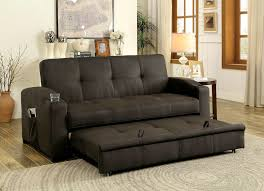 Sofa With A Pull Out Bed Mavis Transitional Style Brown Fabric Adjustable Sofa Futon W