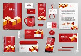 red luxury branding design kit with cubes premium corporate