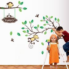 pop cute playing monkey forest tree wall stickers cartoon more beautiful wall stickers just click directly please