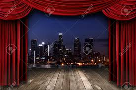 Curtain Drapes Dramatic Theater Stage Curtain Drapes With A Night City As A