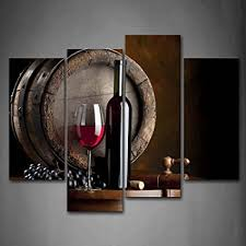 painting for kitchen amazon com wine and fruit with glass and barrel wall art painting