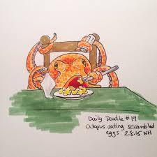 no 19 octopus eating scrambled eggs dailydoodle sketch octopus