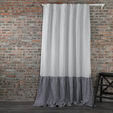Grey Linen Curtains Ruffles Linen Window Curtain Custom Made Curtain To Your Own