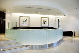 Reception Desk Glass Reception Desk That Blends In However It Is Also Accented Office
