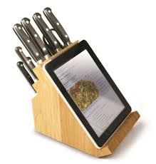 take a look at this victorinox kitchen knife block with tablet holder