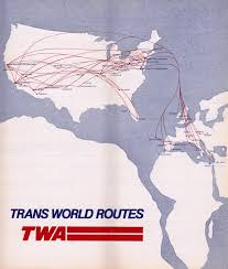 Frontier Airlines Route Map by Airline Timetables Twa October 1976