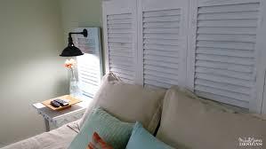 diy shutter headboard from garage sale shutters