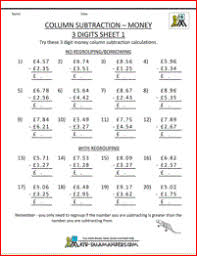 column addition and subtraction worksheets ks2 subtracting money