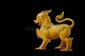 gold lion statue thailand pattern on gold lion statue stock image image of