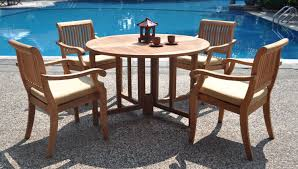 Piece GradeA Teak Dining Set   Double Extension Rectangle - 7 piece outdoor dining set with round table
