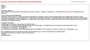 production manager offer letter