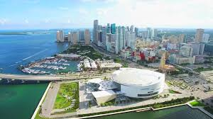 aerial 4k view miami downtown and american airlines arena home