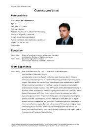 Vita Resume Example by Curriculum Vitae Resume Cv Example Template