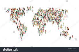 A World Map Crowd People Composing World Map Aerial Stock Vector 340682378